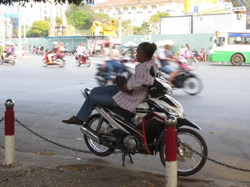 ausruhen auf dem Motorrad