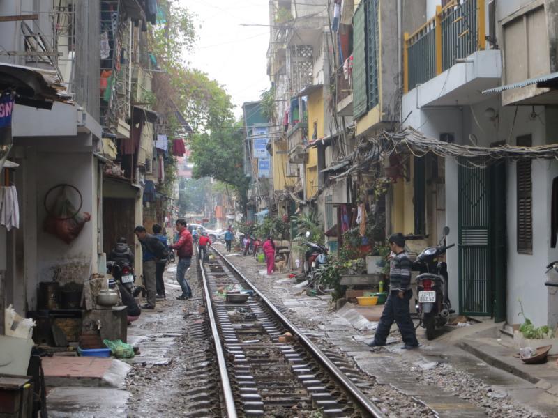 Bahnschienen in Hanoi