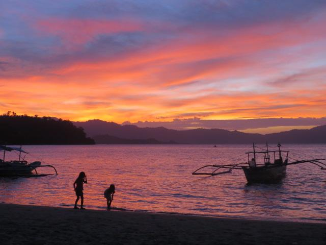 Sonnenuntergan in Port Barton, Palawan