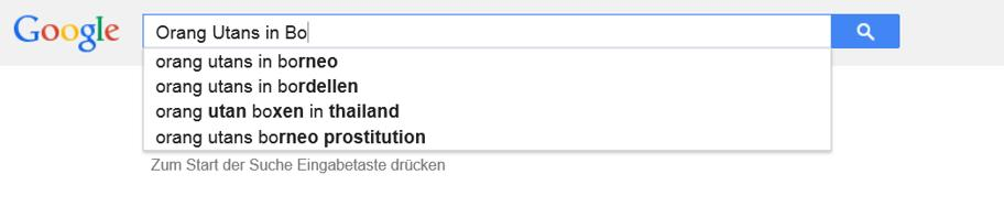 Google Suche Orang Utans