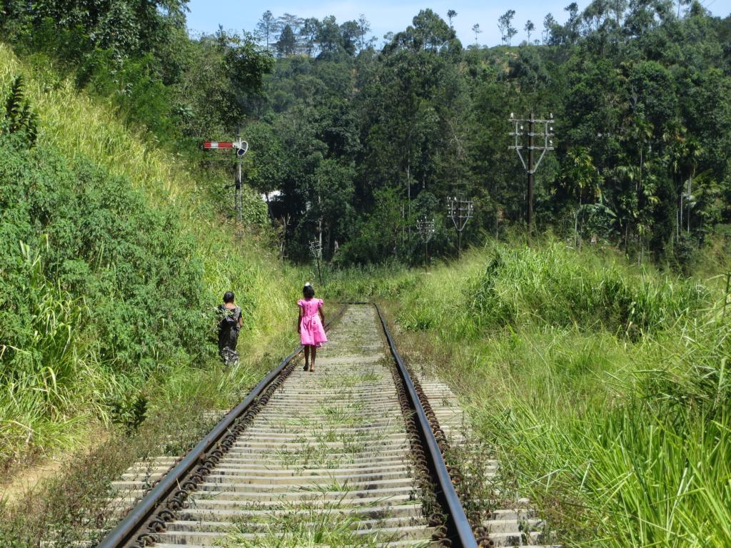 Auf den Bahnschienen unterwegs. Alltag in Sri Lanka