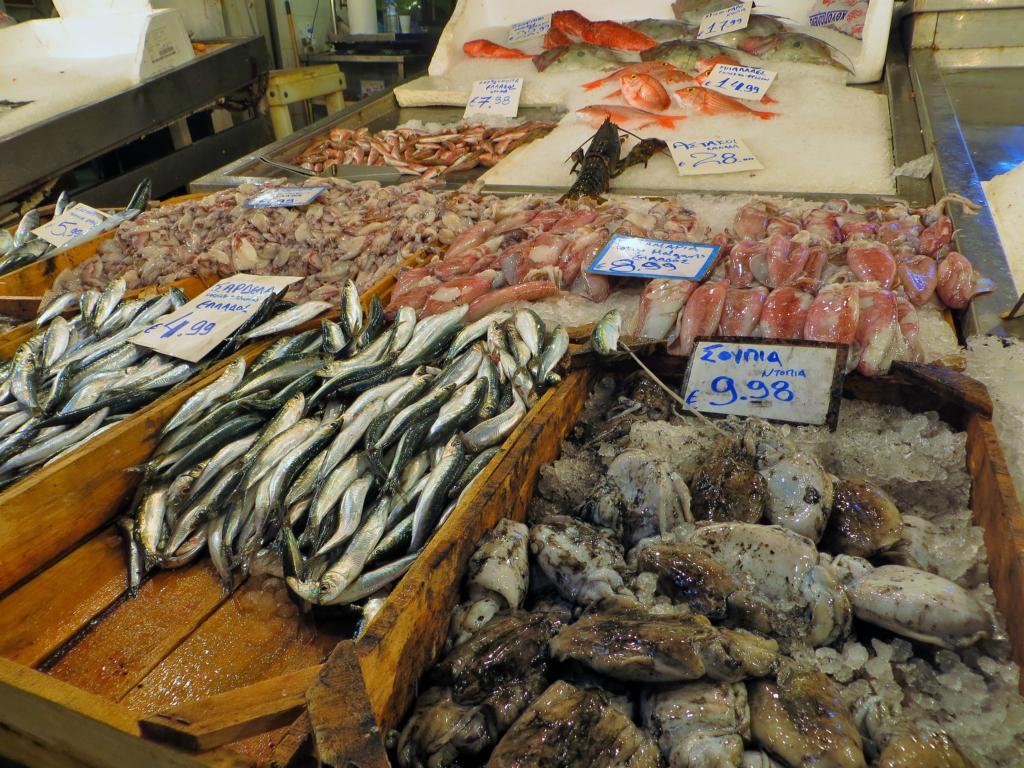 Der Fischmarkt im Central Market in Athen