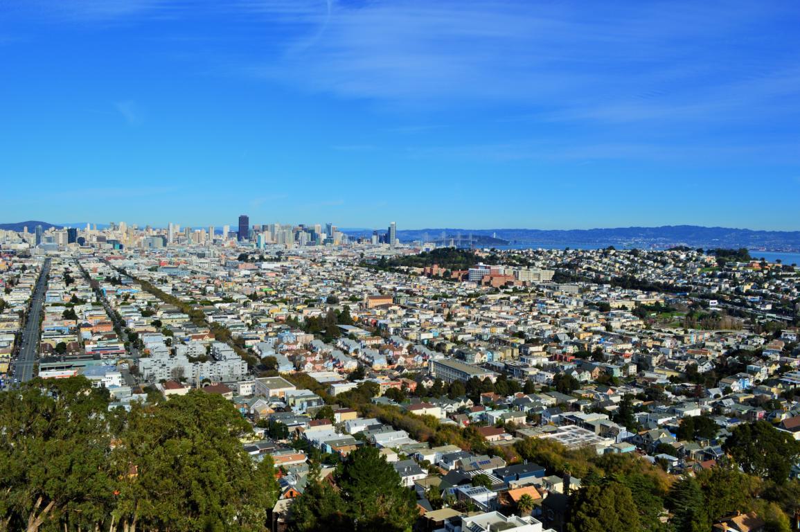 Ausblick von den Bernal Hights auf San Francisco