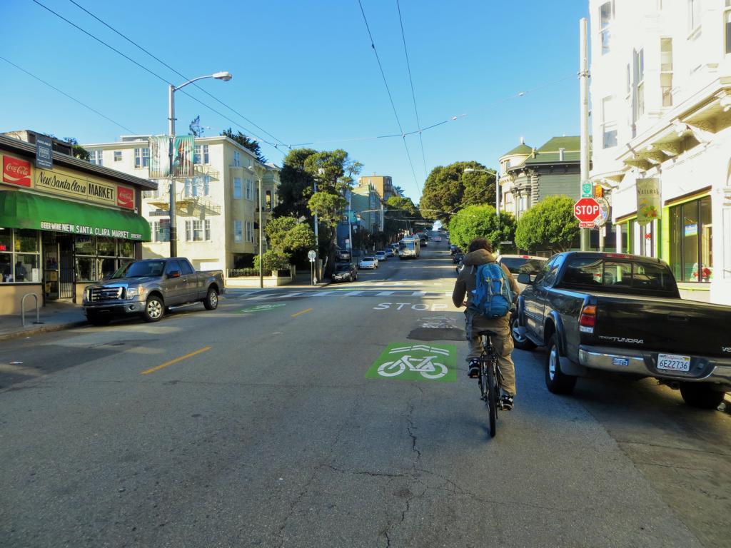 Die Fahrradwege in San Francisco sind super ausgeschildert
