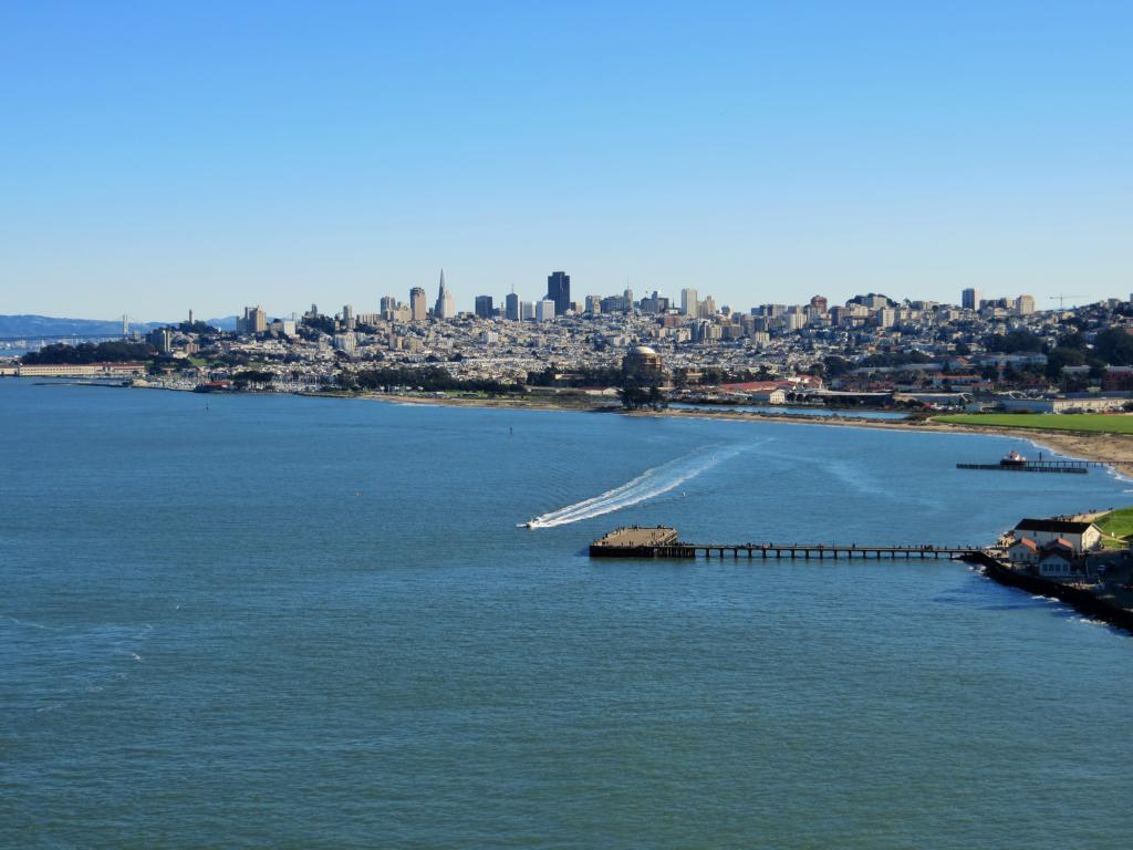 Traumhafte Aussicht von der Golden Gate Bridge auf San Francisco