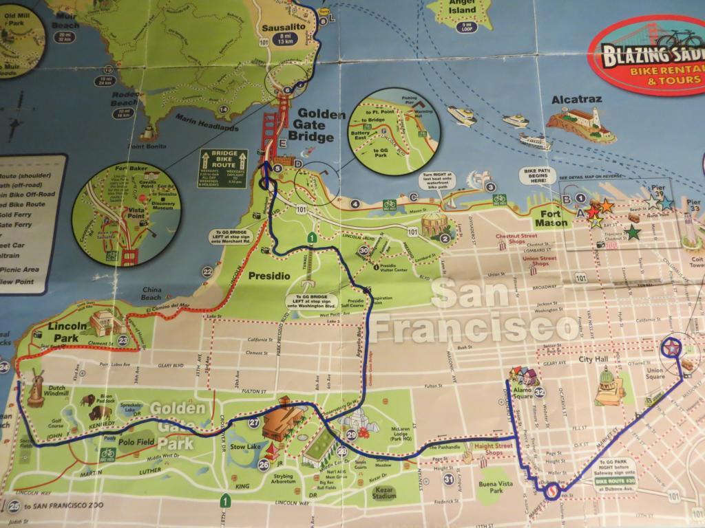 Route der Fahrradtour durch San Francisco