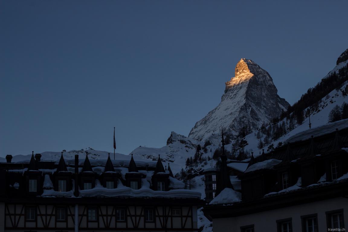 Alpenglühen in Zermatt. Foto: Anita von Travelita