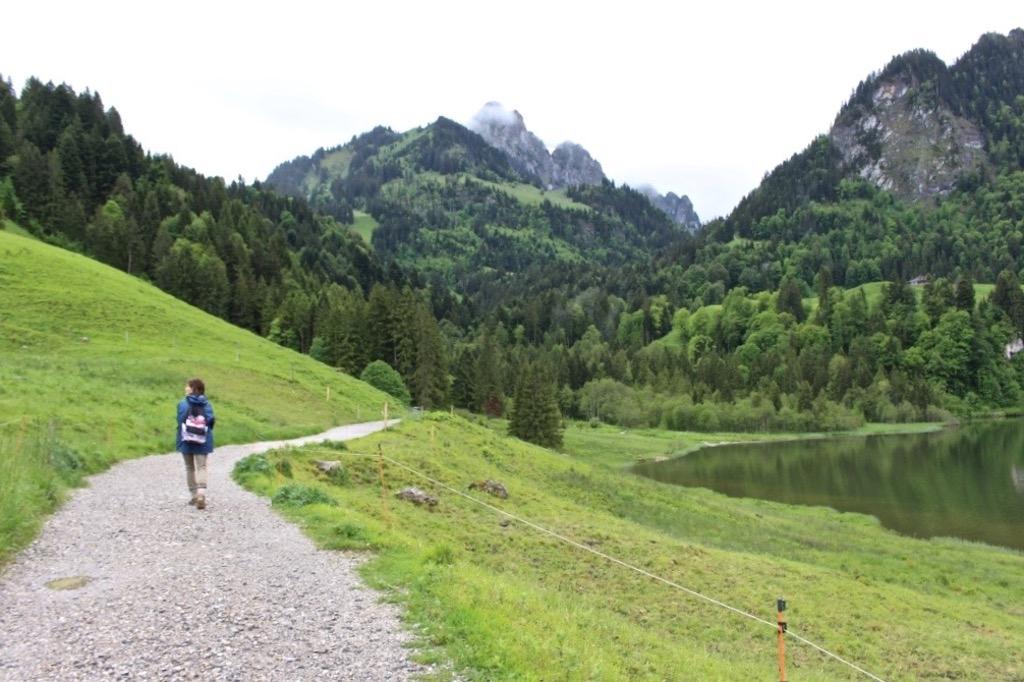Auch bei Regenwetter lässt es sich prima um den Schwarzsee wandern.